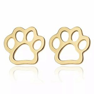 Gold Paw Print Outline Earrings